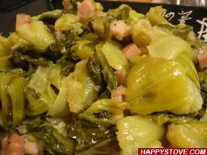 Saute of Baby Bok Choy, Ham and Onions - By happystove.com