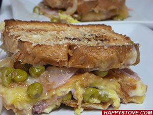 Bread Casserole with Ham and Peas - By happystove.com