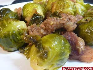 Brussels Sprouts with Ham and Beer