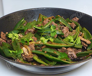 Stir Fry of Jalapeno Peppers and Cubed Beef