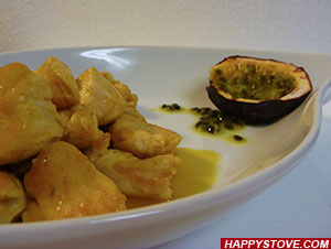 Stir-fried Chicken Breast Strips with Passion Fruit Sauce - By happystove.com