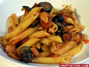 Penne Pasta with Bacon, Black Olives and Mushrooms