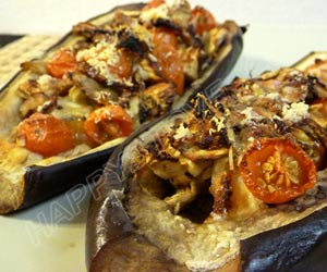 Light Baked Eggplants Stuffed with Tomatoes and Parmigiano Cheese