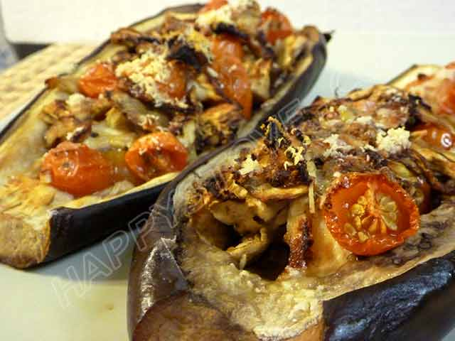 Light Baked Eggplants Stuffed with Tomatoes and Parmigiano Cheese - By happystove.com
